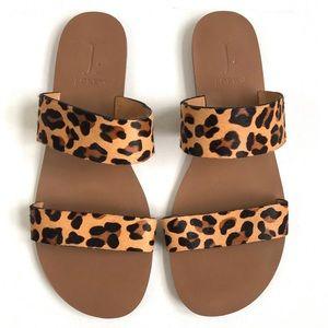 J. Crew Leopard calf hair easy summer slides